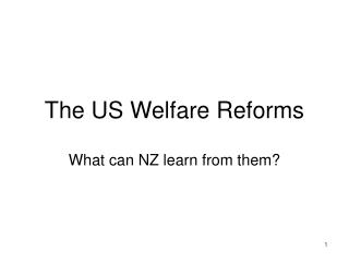 The US Welfare Reforms