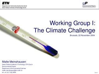 Working Group I:  The Climate Challenge
