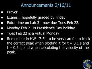 Announcements 2/16/11