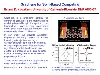 Graphene for Spin-Based Computing  Roland K. Kawakami, University of California-Riverside, DMR 0450037