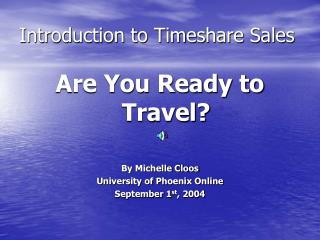 Introduction to Timeshare Sales