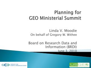 Planning for  GEO Ministerial Summit