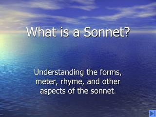 What is a Sonnet?