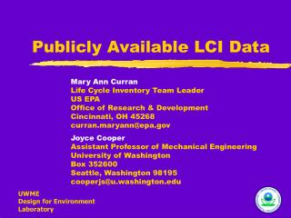 Publicly Available LCI Data