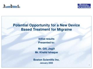 Potential Opportunity for a New Device Based Treatment for Migraine