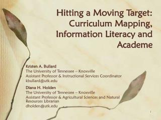 Hitting a Moving Target: Curriculum Mapping, Information Literacy and Academe