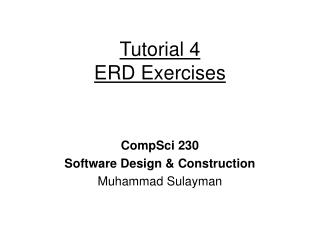 Tutorial 4 ERD Exercises