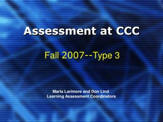 Assessment at CCC