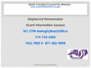 North Carolina Council for Women councilforwomen.nc Displaced Homemaker