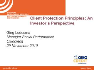 Client Protection Principles: An Investor's Perspective