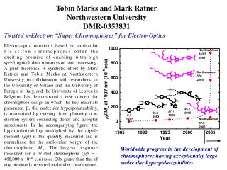 Tobin Marks and Mark Ratner Northwestern University DMR-0353831