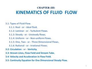 CHAPTER (III)  KINEMATICS OF FLUID  FLOW