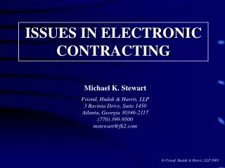 ISSUES IN ELECTRONIC CONTRACTING