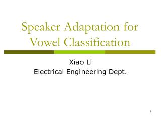 Speaker Adaptation for Vowel Classification