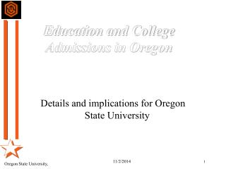 Education and College Admissions in Oregon