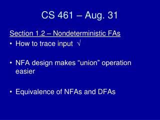 CS 461 – Aug. 31