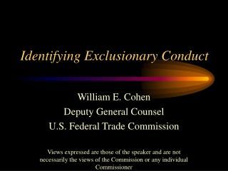 Identifying Exclusionary Conduct