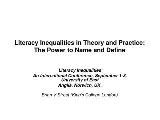 Literacy Inequalities in Theory and Practice: The Power to Name and Define