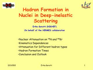 Hadron Formation in Nuclei in Deep-inelastic Scattering