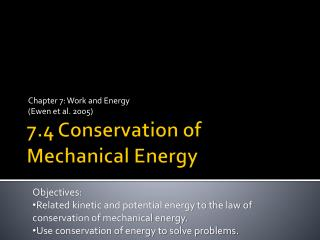 7.4 Conservation of Mechanical Energy