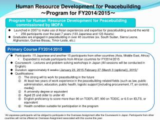 Human Resource Development for Peacebuilding ~ Program for FY2014/2015 ~