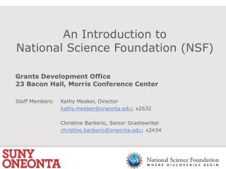 An Introduction to National Science Foundation (NSF)