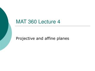MAT 360 Lecture 4
