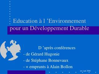 Education à l'Environnement pour un Développement Durable