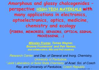 Amorphous and glassy chalcogenides  –
