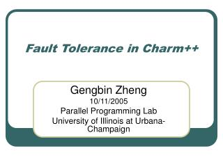 Fault Tolerance in Charm++