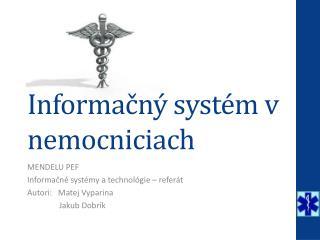 Informačný systém v nemocniciach