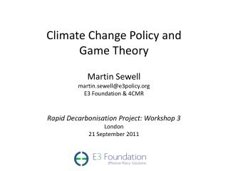 Climate Change Policy and Game Theory