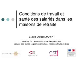 Conditions de travail et santé des salariés dans les maisons de retraite