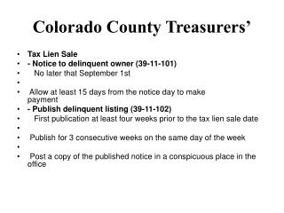 Colorado County Treasurers