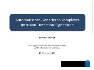Automatisches Generieren komplexer Intrusion- Detection -Signaturen