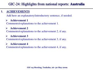 GIC-2 4 : Highlights from national reports: Australia