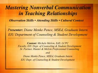 Mastering Nonverbal Communication in Teaching Relationships