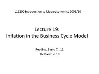 Lecture 19:  Inflation in the Business Cycle Model