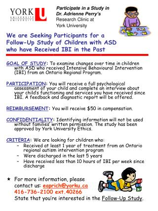 We are Seeking Participants for a Follow-Up Study of Children with ASD