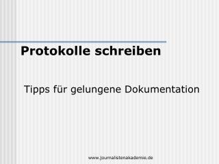 Tipps für gelungene Dokumentation