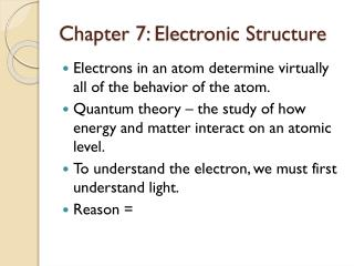 Chapter 7:  Electronic Structure