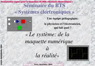 Séminaire du BTS «Systèmes électroniques»