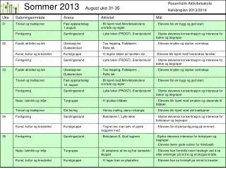Rosenholm Aktivitetsskole                   Halvårsplan 2013/2014