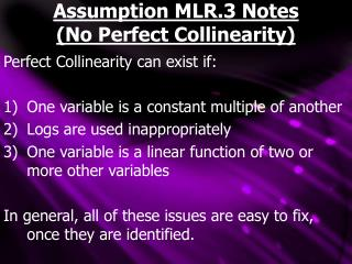 Assumption MLR.3 Notes No Perfect Collinearity