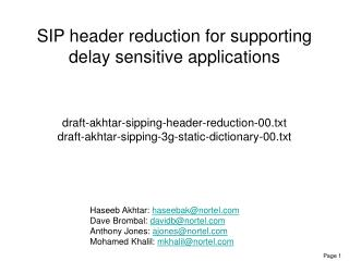 SIP header reduction for supporting delay sensitive applications