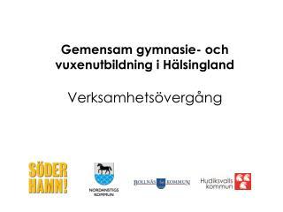 Gemensam gymnasie- och vuxenutbildning i  H�lsingland Verksamhets�verg�ng