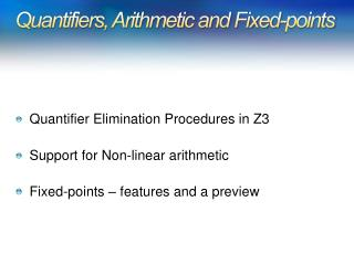 Quantifiers, Arithmetic and Fixed-points