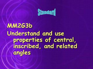 MM2G3b Understand and use properties of central, inscribed, and related angles