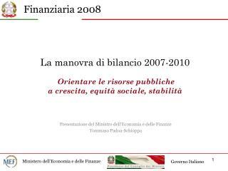 Presentazione del Ministro dell'Economia e delle Finanze Tommaso Padoa-Schioppa