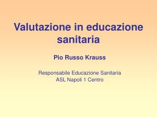 Valutazione in educazione sanitaria